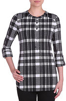 Peter Nygard Printed Plaid Roll-Tab Sleeve Blouse