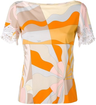 Emilio Pucci Acapulco Print Embroidered Short Sleeved Top