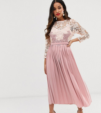 Little Mistress Petite floral lace applique 3/4 sleeve midi skater dress with pleated skirt-Pink