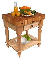 "John Boos American Heritage Rustica Butcher Block Table Size / Shelf: 48"" x 24"" with Shelf, Finish: Alabaster White"