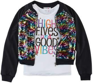 Knitworks Knit Works Sequin Bomber Jackets Girls Scoop Neck Sleeveless Layered Top Preschool / Big Kid