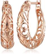 Amazon Collection 14k Rose Gold Plated Sterling Silver Filigree Round Hoop Earrings