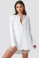 NA-KD Banded Collar Striped Long Shirt