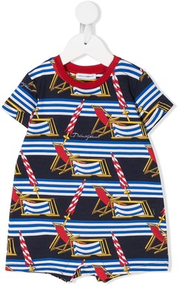 Dolce & Gabbana Kids Striped Beach Scene-Print Babygrow