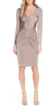 Brinker & Eliza Ruched Long Sleeve Cocktail Sheath