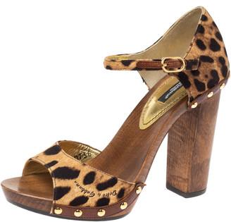 Dolce & Gabbana Brown Animal Print Canvas D'Orsay Clog Sandals Size 36