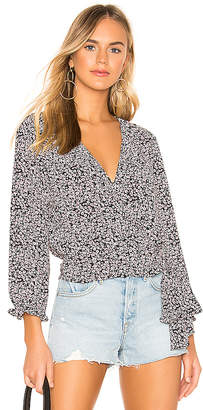 1 STATE Long Sleeve Wildflower Ditsy Ruffle Edge Wrap Top