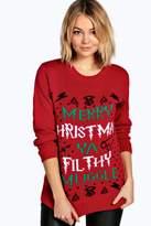Boohoo Erin Ya Filthy Muggle Christmas Jumper red