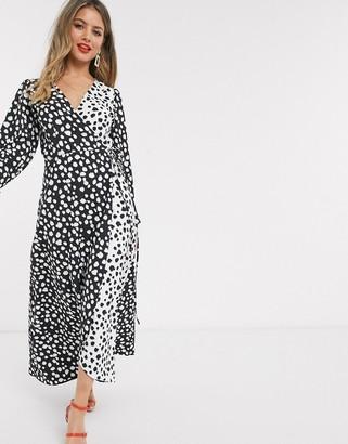 Style Cheat contrast polka print midaxi dress in mono