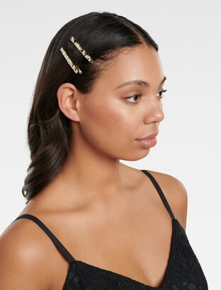 Forever New Flick Molten Metal Two-Pack of Hair Clips - Gold - 00
