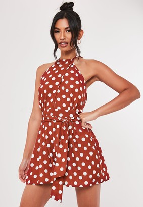 Missguided Rust Polka Dot High Neck Playsuit
