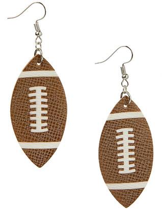 Frankie & Stein Women's Earrings - Brown Faux Leather Football Drop Earrings