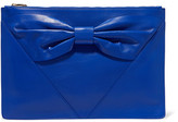 RED Valentino Bow-Embellished Textured-Leather Clutch