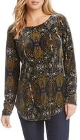 Karen Kane Women's Print Velvet Shirttail Top