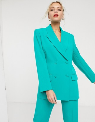 And other stories & oversized double breasted blazer in emerald green