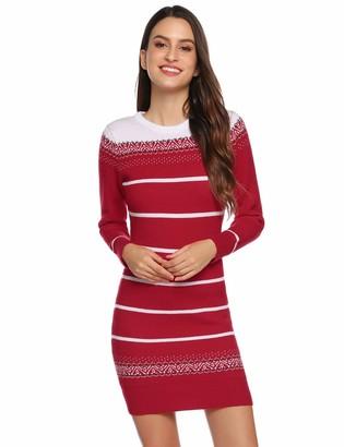 Hawiton Women's Knitted Dress Christmas Jumper Dress Long Sleeve Striped Sweater Dress Winter Dress Long Sweater for Leisure Parties Office