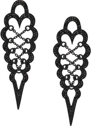 Colette 18kt Black Gold Diamond Drop Stud Earrings
