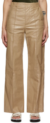 Marni Beige Leather Trousers