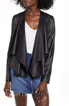 Blank NYC BLANKNYC Textured Drape Front Faux Leather Jacket