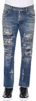 Dolce & Gabbana Super-Distressed Slim-Fit Denim Jeans, Medium Blue