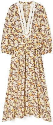 Tory Burch Printed Puffed-Sleeve Tunic Dress