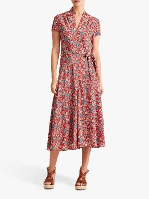 Ralph Lauren Ralph Amit Floral Print Tie Belt Dress, Red/Multi
