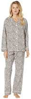 True Grit Dylan By Dylan by Baby Cheetah Soft Flannel Pajama Set with Contrast Piping and Tie (Pink) Women's Pajama Sets