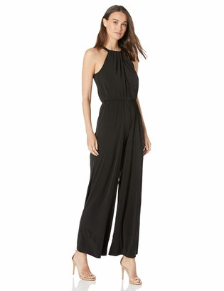 Calvin Klein Women's Sleeveless Halter Jumpsuit with Beaded Neck Band