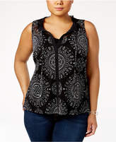INC International Concepts Plus Size Printed Ruffled Tank, Created for Macy's