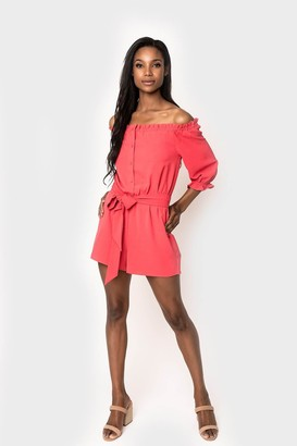Gibson x Hello Happiness Off the Shoulder Tie Waist Romper