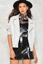 boohoo Heather Vegan Leather Biker grey