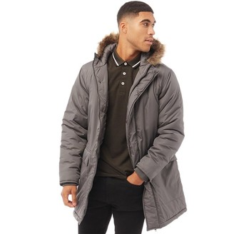 French Connection Mens Parka 3 Jacket Dark Charcoal