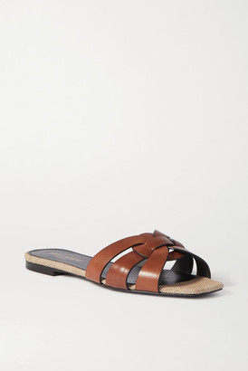 Saint Laurent Nu Pieds Woven Leather And Canvas Slides - Tan