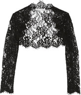 Oscar de la Renta Cropped Cotton-blend Corded Lace Jacket - Black