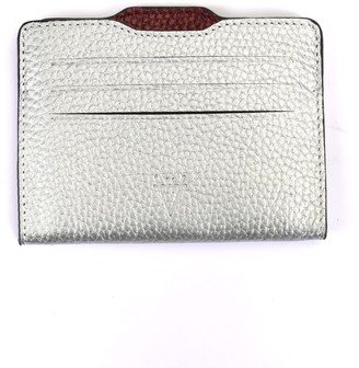 Atelier Hiva Double Card Holder Silver & Metallic Burgundy