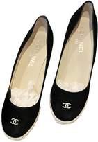 Chanel Black Suede Espadrilles