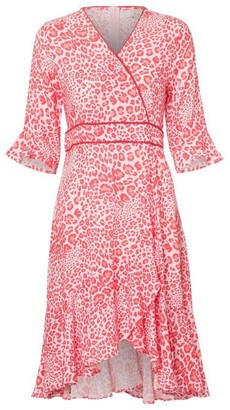 Charlotte Sparre Frill Wrap Dress Red Wildlife - XS / Red