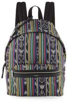 Saint Laurent Men's Ikat-Print Leather-Trim Backpack