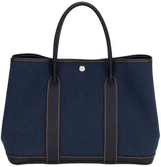 One Kings Lane Vintage Hermes Large Blue Toile Garden Party Bag - Vintage Lux