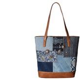 American West Indigo Zip Top Bucket Tote Tote Handbags