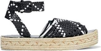 Zimmermann Woven Leather Platform Espadrille Sandals