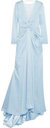 Jenny Packham Embellished Tulle-paneled Gathered Satin-crepe Gown