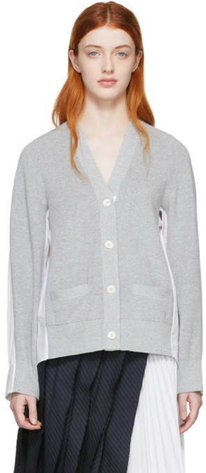 Sacai Grey and White Panelled Cardigan