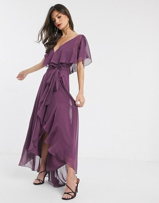 Asos Design DESIGN split sleeve cape back dipped hem maxi dress with tie shoulder-Purple