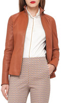 Akris Haley Leather Zip-Front Jacket, Tan/Camel