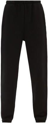LES TIEN Brushed-back Cotton Track Pants - Black