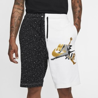 Jordan Jumpman Classics Fleece Shorts - White / Black Metallic Gold