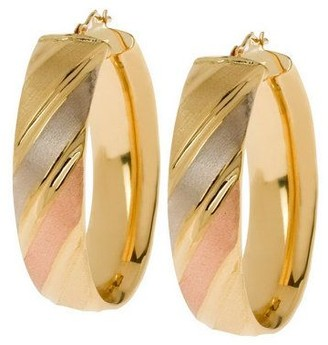 Arte d'Oro Oval Polished & Satin-Finish Hoop Earrings, 18K