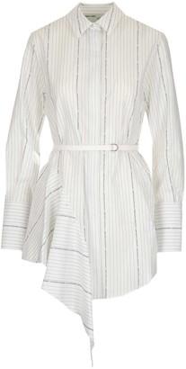 Off-White Pinstripe Shirt Dress