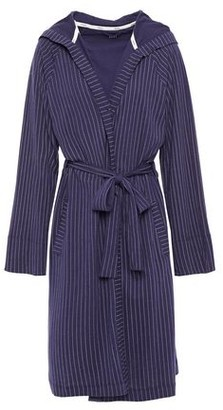 DKNY Pinstriped Cotton-blend Jersey Hooded Robe
